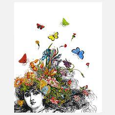 Girl And Butterflies, Zlatka Paneva Tem pessoas que dizem sentir borboletas no estômago... eu acho que sou mais como essa aí da pintura... tenho borboletas na cabeça. Por isso vivo em meio às nuvens.