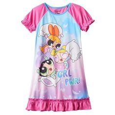 Girls 4-12 Powerpuff Girls Buttercup, Blossom & Bubbles Dorm Nightgown, Light Pink
