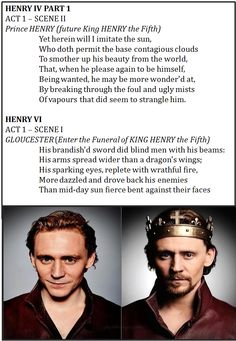 """I noticed this whist reading the other day.... Henry's first monologue in """"King Henry IV part 1"""" and the first memory of him in """"King Henry VI"""" both compare him to the sun: 4 points to you Shakespeare...you go Shakespeare!!"""