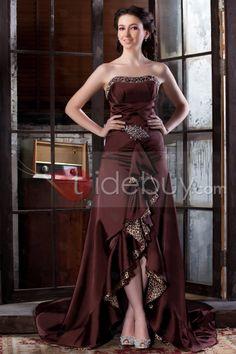拧紧背晚礼服装不是对称底部边肩带长肩膀带楼长