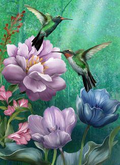 http://www.porterfieldsfineart.com/Abby White/hummingbirdgardenII.htm