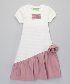 White & Burgundy Stripe Dress - Toddler & Girls by Helene's Closet on #zulily! #zulilyfinds