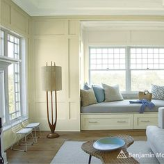 Look at the paint color combination I created with Benjamin Moore. Via Walls: Edgecomb Gray Alcove: Halo Drawers: Halo Window Trim: Halo Share your saved colors, start a new search or go to your local Benjamin Moore retailer for samples. Best Blue Paint Colors, Best White Paint, White Paints, Living Room Paint, Living Room Colors, Living Rooms, Color Durazno, Benjamin Moore Paint, Benjamin Moore Overcast