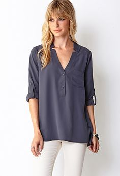 Charcoal Go-to woven top Forever21