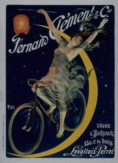 Bicycle Brands, Look At The Moon, Ville France, Bike Art, Paris, Still Image, American Artists, Vintage Posters, Art Deco