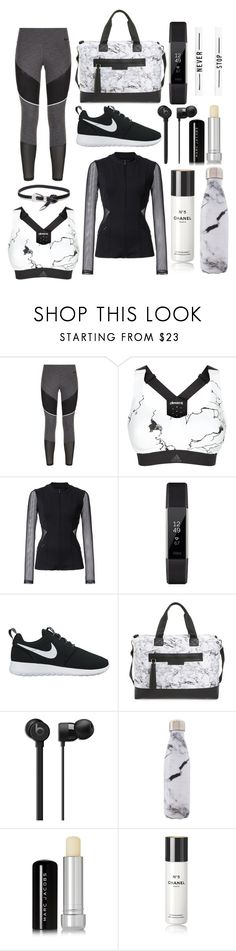 """Gym Style"" by mysoulisonthepages ❤ liked on Polyvore featuring NIKE, adidas, Cushnie Et Ochs, Fitbit, Balsa 201, West Elm, MARBELLA, Marc Jacobs and Chanel"