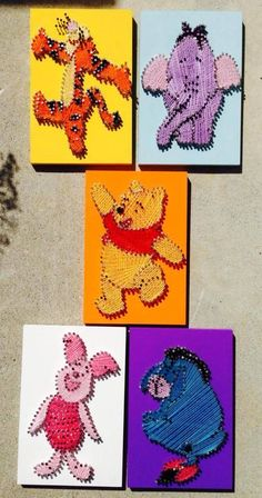 Embroidery On Paper Winnie the Pooh set custom string art by MyHeartIsAlwaysHome - String Wall Art, Nail String Art, String Crafts, Resin Crafts, String Art Templates, String Art Tutorials, String Art Patterns, Disney Diy, Disney Crafts
