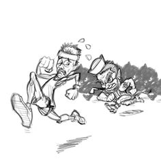 #commisioned #sketch of a #runner chased by a #leprechaun #madewithwacom @CorelPainter #drawing #cartoon