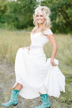 Turquoise Boots with Wedding Dress!  Love it