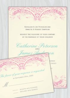 Pretty Pink Wedding Invitations designed by Colourful Designs Inc. Copyright 2013.