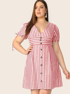 To find out about the Plus V Neck Button Front Tied Cuff Striped Dress at SHEIN, part of our latest Plus Size Dresses ready to shop online today! Vestidos Plus Size, Plus Size Dresses, Plus Size Outfits, Prom Dresses Blue, Cheap Prom Dresses, Trendy Clothes For Women, Casual Dresses For Women, Big Size Dress, Ruched Dress