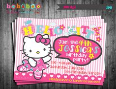 Hello kitty printable birthday invitations birthday invitation for hello kitty ballerina birthday party invitation card digital printable file stopboris Gallery