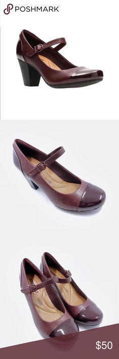 Clarks Garnit Tianna High Heels Burgundy Sz 6M Clarks Garnit Tianna Women's High Heels Burgundy Sz 6M NEW WITHOUT BOX  Ortholite technology enables air flow for a cool foot, wicks away moisture, inhibits odor and fungus, and provides long-lasting cushioning Mary Jane strap Leather upper Fabric lining TPR outsole Cap toe Buckle closure Ortholite footbed 2.67-in. heel Clarks Shoes Heels