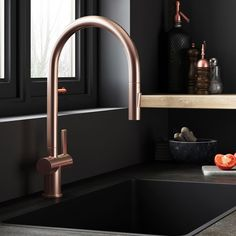 Just Taps Single Lever Mono Pull Out Kitchen Mixer - Rose Gold | Tap Warehouse