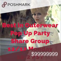 12/12 Pop Up Party Share Group -Jackets/Sweaters Join us for a pop up SG today, Monday 12/12. We are a one time SG committed to sharing each other's relevant items to our followers (not TO the party) during the short window of 12 PST-2 PST. Please don't sign up if you can't share 5 items from each closet today during those 2 hours only! To join, sign in below by 12 PST. Specify either: women's jackets, women's sweaters or top 5 (must have 5 party relevant items at top). Start sharing at 12…
