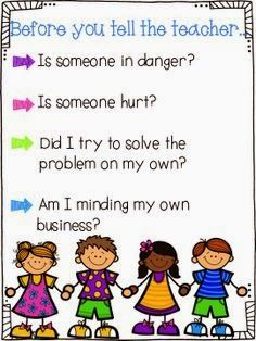 This sounds like a great way to work on tattling versus telling the kindergarten classroom using the book: A Bad Case of Tattle Tongue Classroom Behavior Management, Behaviour Management, Classroom Organisation, Classroom Rules, Classroom Posters, School Classroom, Classroom Ideas, Organization, Classroom Behaviour
