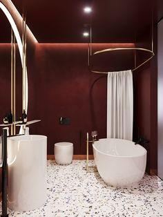 burgundy bathroom on Behance Modern Bathroom Sink, Bathroom Red, Minimalist Bathroom, Modern Bathroom Design, Bathroom Interior Design, Master Bathrooms, Small Bathrooms, Bathroom Design Layout, Bathroom Tile Designs