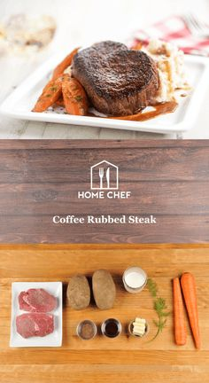 Coffee Rubbed Steak  with brown butter mashed potatoes and roasted carrots