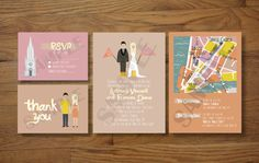 Custom Illustrated Wedding Invitations by chicksnhens on Etsy, $100.00