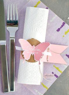 Rosa Tischdeko für die kommunion- Serviettenring Partys, Wedding Decorations, Events, Tableware, Pink, Paper, First Communion, Diy, Crafting
