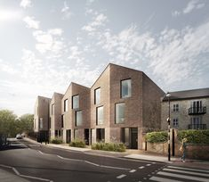 A canal side scheme for eight dwellings maximising privacy and outdoor space in a clever folded design by pH+ architects, has been granted planning permission Architecture Design, Residential Architecture, Architecture Models, Social Housing, Georgian Homes, Old Fords, Brick And Stone, Brickwork, Layout