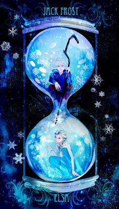 I love this! Especially the symbolism of Jack being stuck in the top of the hourglass; he can't pass through or move on. His life will never run out, while Elsa has already been doomed to die.