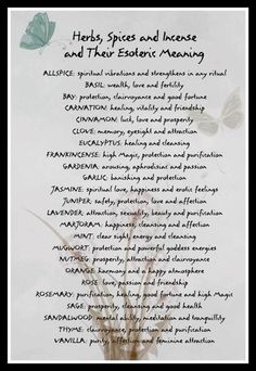 From Wicca Teachings - Herbs, spices and incense and their esoteric meanings by joann