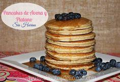 Simple & Delicioso: Pancakes de Avena y Plátano {Sin Harina}