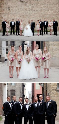 beige bridesmaid dress with fuscia flowers, this is the best I could find so you could see the colors.
