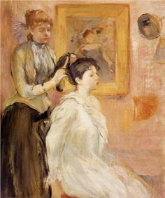 """The Hairdresser - Berthe Morisot, 1894  """"I used short sittings, to preserve the freshness of the moment, then finished the  paintings using the memories of my sisters and mother and myself in the privacy of our boudoirs--washing, arranging our coiffures, fastening our gowns."""" (Ch. 16)"""