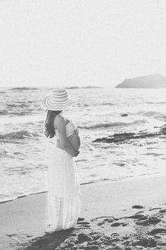 praia, chapéu, saia longa