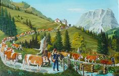 Paul Yerly (1900-1969) Peintre paysan 14 février – 18 avril 2010- Musée de Charmey Painting, Avril, Mountains, Travel, Painting On Wood, Switzerland, Animaux, Drawing Drawing, Farm Gate