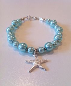 Seafoam Glass Pearl Bracelet with Silver Plated Starfish