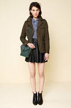 Mix leather in with your army parket, as seen at @Madewell