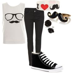 """Mustache Outfit :)"" by elepup1 on Polyvore"