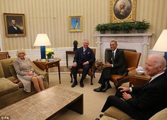 President Obama and Vice President Biden meet with Prince Charles and Camilla in the White House