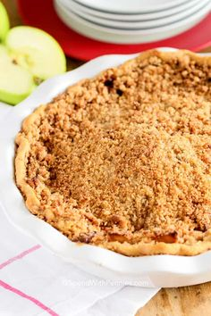 Apple Crumb Pie is a 5 star recipe with a tender pastry crust, mounds of fresh juicy apples and a delicious crumble topping.