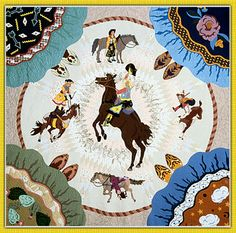 """Rebekka Seigel: Art Quilts - Early Work - Lone Star Cowgirls (102 x 102"""").  There are 4 cowgirls, one in each corner of the quilt, with only their skirts and boots visible."""