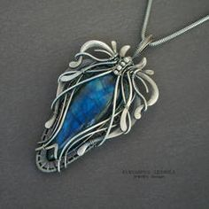 Labradorit by KL-WireDream on DeviantArt Wire Pendant, Silver Pendant Necklace, Pendant Jewelry, Silver Pendants, Moon Jewelry, Copper Jewelry, Jewlery, Wire Wrapped Necklace, Wire Wrapped Pendant