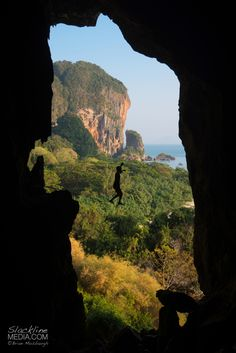 One of the great joys I find in highlining is the exploration for new space all over the wold. On a recent expedition to Thailand I was able to rig many new slacklines, including this cave highline around the infamous climbing area of Tonsai. Rigging in the dark and utilizing all natural anchors, I handed my girlfriend my camera, framed up a shot and had her document this image as I passed by the portal exit. Thanks Aleta Edinger for hitting the shutter button and enduring the hot…