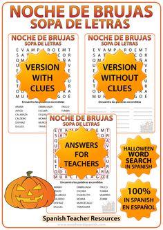 Word Search with Vocabulary about Halloween in Spanish. Sopa de Letras con vocabulario en español acerca de la Noche de Brujas