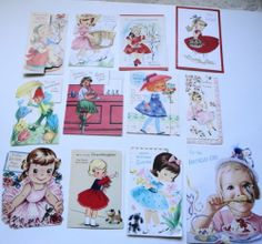 Lot of 12 Adorable Vintage Girl's Birthday Greeting Cards 40s 50s 60s