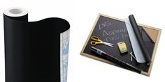 flexible plastic removable self-adhesive Contact Paper® roll turns any hard surface into a chalk board - cut shapes and label jars, boxes etc.; easier than applying chalkboard paint for some projects