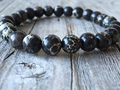 Gemstone men bracelet Surf beach bracelet stretch door KennlyDesign
