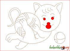 Котик раскраска обводилка
