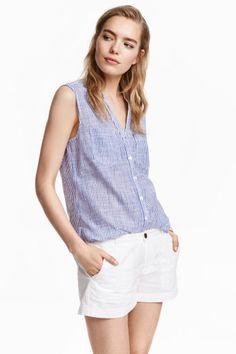 Bawełniana bluzka bez rękawów | H&M