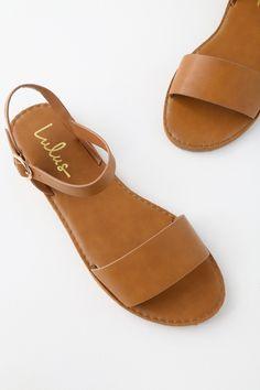 54cc3348e Cute Tan Sandals - Flat Sandals - Ankle Strap Sandals -  17.00 Tan Sandals  Outfit