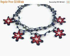 Star Three Strand Crochet Handmade Bohemian Statement Beaded Choker Necklace | Crochet Jewelry | Knitted Necklace | Summer Jewelry