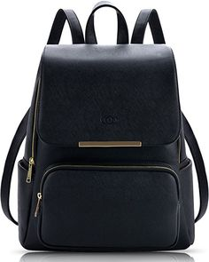 7f8e1380d82b Amazon.com  Coofit Black Leather Backpack for Girls Schoolbag Casual Daypack   Shoes Best