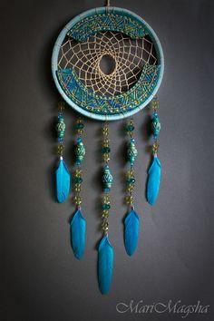 """Купить Ловец снов """"Повелитель ветров"""" - бирюзовый, голубой, ловец снов, ловец сновидений"""